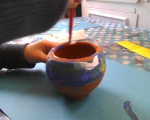 painting a pot